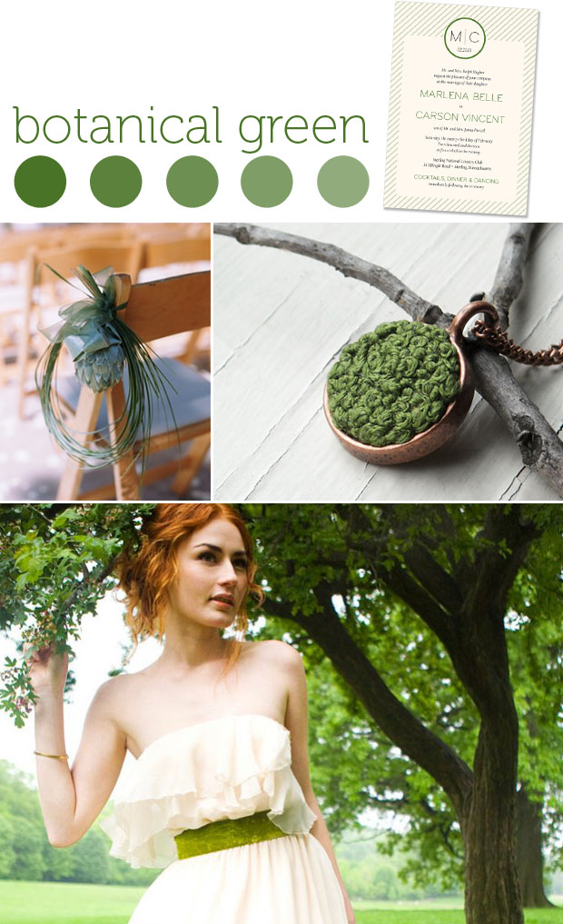 color: botanical green - wedding inspiration board