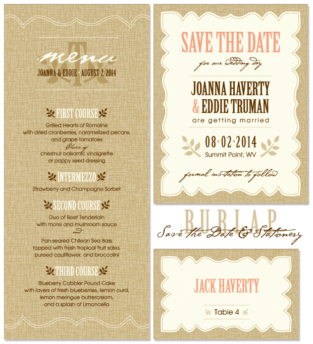 Burlap Save the Date; Burlap Stationery