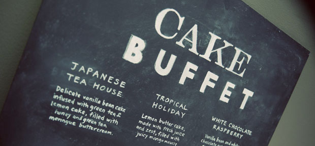 "chalkboard wedding menu ""cake buffet"""