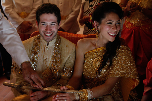 Andy and Christina at their Cambodian wedding ceremony