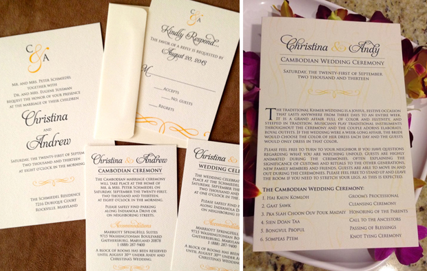 Christina + Andy's Cambodian wedding invitations and bifold programs