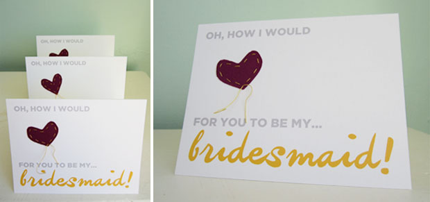 handmade bridal party cards