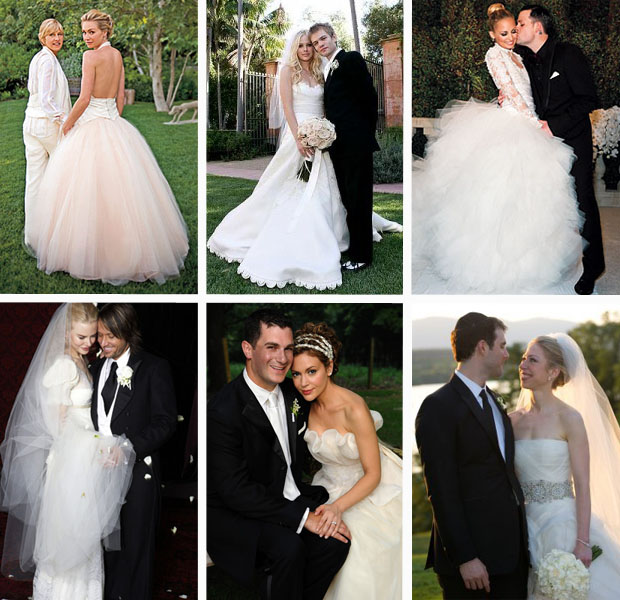 Elegant Blush & White Celebrity Wedding Dresses