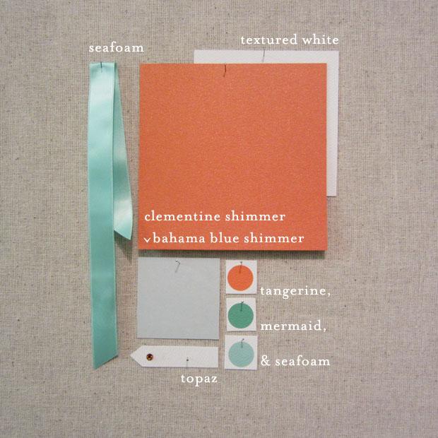 clementine, tangerine, seafoam, mermaid, blues, aqua, and orange wedding colors