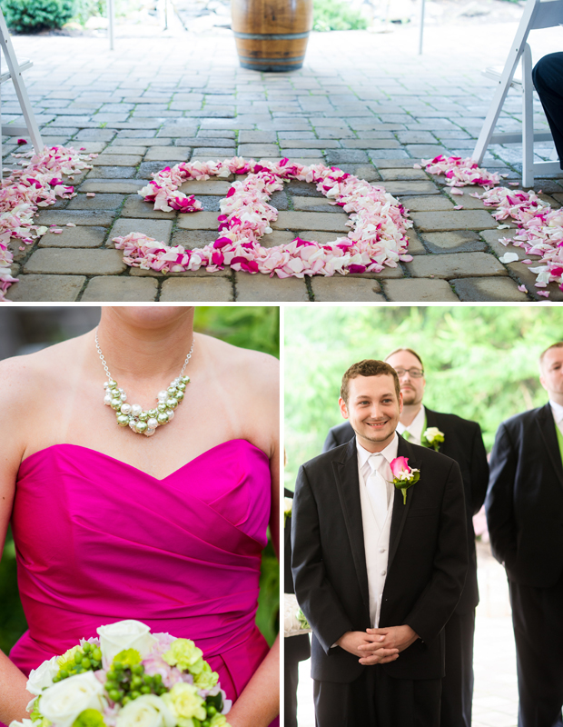 Aisle petal design, bridesmaid attire, groom