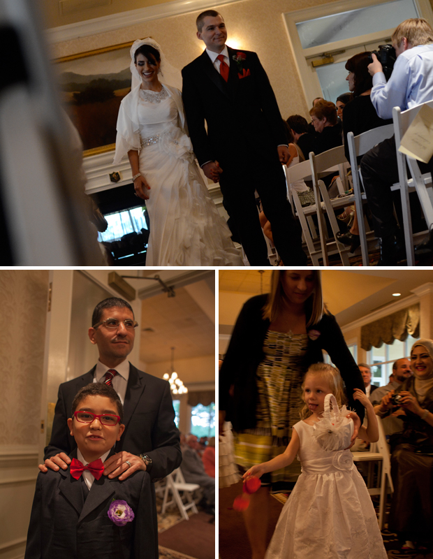 Saja and Aaron exiting the ceremony; ring bearer and flower girl