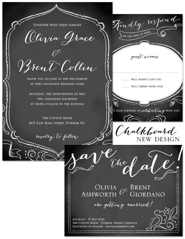chalkboard wedding invitation   casual, eleganty, and artsy wedding stationery