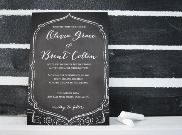 chalkboard wedding stationery  |  black and white