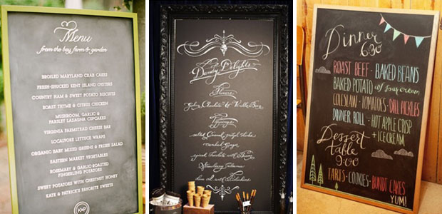 various wedding chalkboard menus