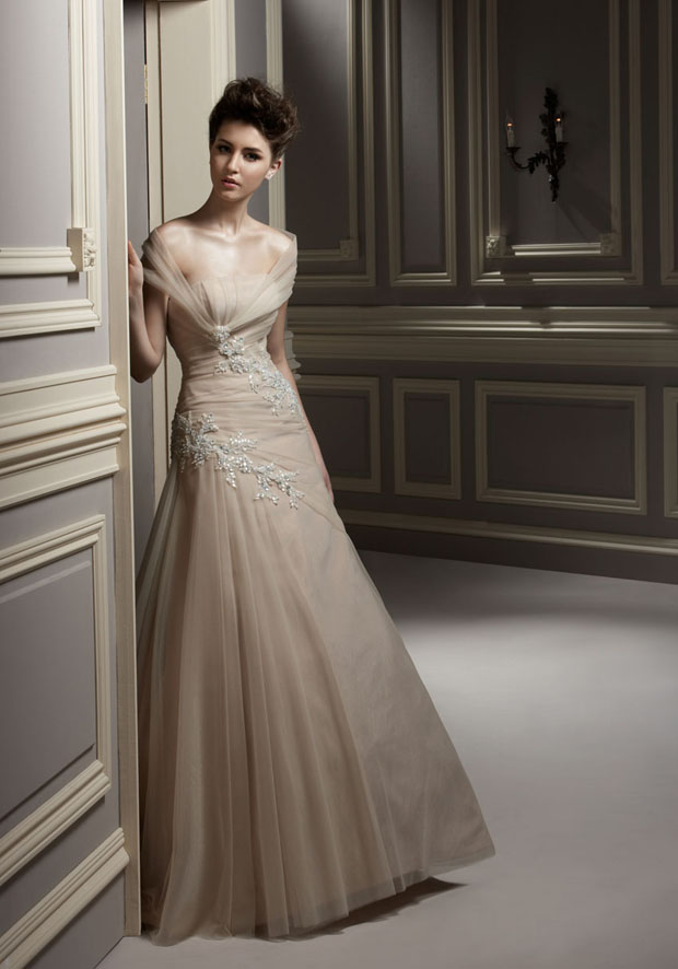 Champagne beaded wedding dress