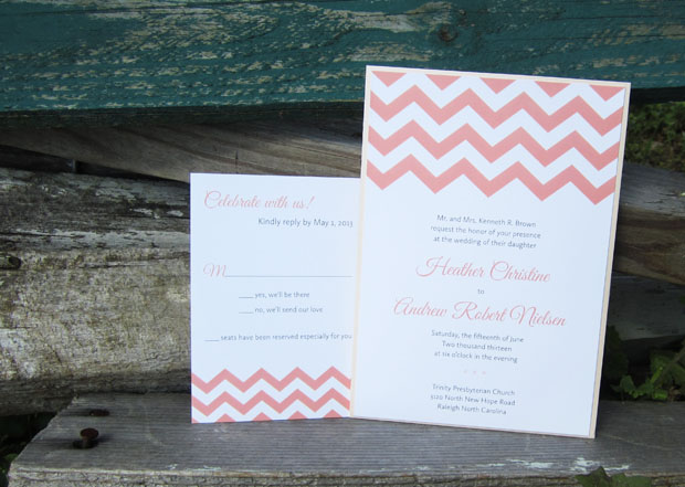 chevron wedding invitation design | clutch pocket in aqua shimmer with coral and umber inks