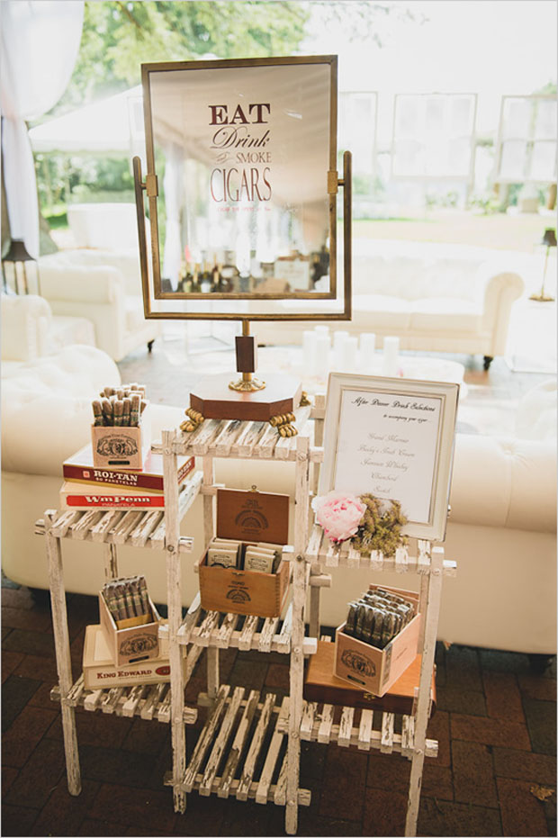 wedding reception cigar station