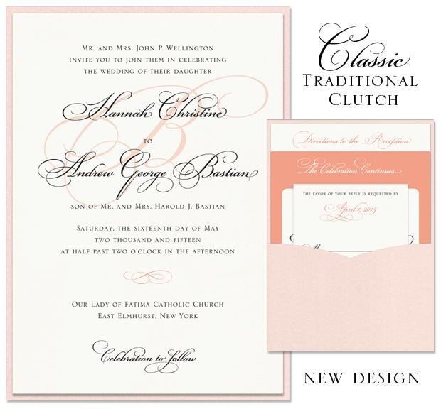 Classic Traditional Clutch Pocket Wedding Invitation
