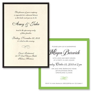 Classic Rehearsal Dinner and Bridal Shower Invitations