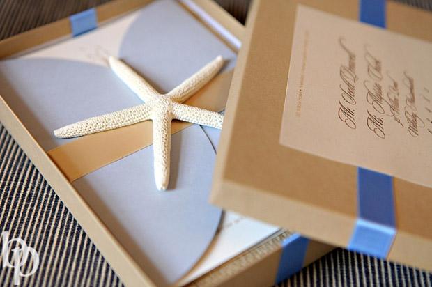 coastal couture boxed wedding invitation