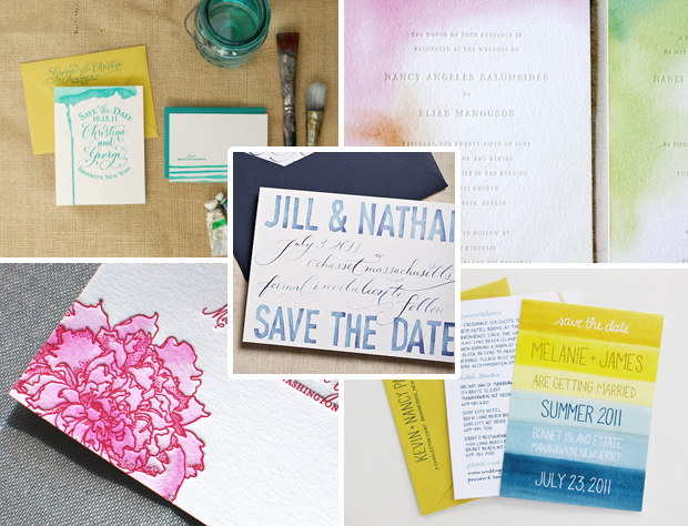 Examples of watercolor wedding stationery