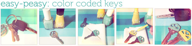 easy to do diy - color code your keys with nail polish