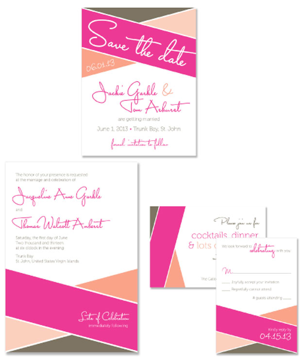 Color Block Wedding Invitation and Save the Date