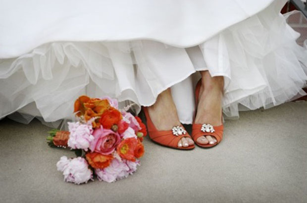 coral / orange wedding shoes