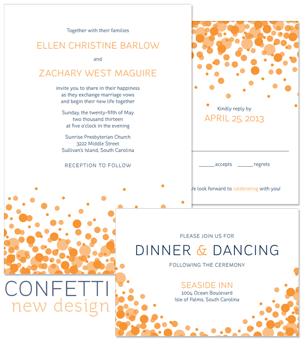 New Design: Confetti modern wedding invitation