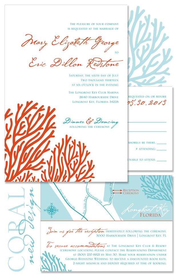 Coral Wedding Invitation - Beach Wedding Invite