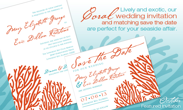 TGK's Coral Wedding Invitation and Matching Save the Date