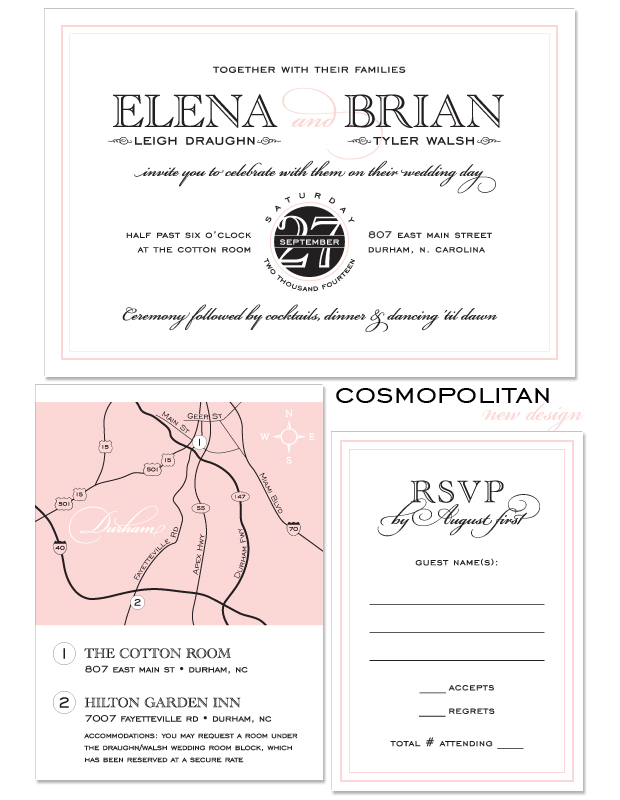 Cosmopolitan Wedding Invitation, Reply Card and Large Accessory with map upgrade.