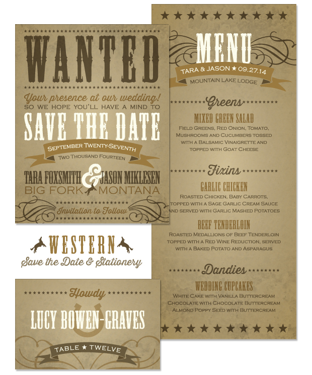 Western Save the Date, Menu and Place Card