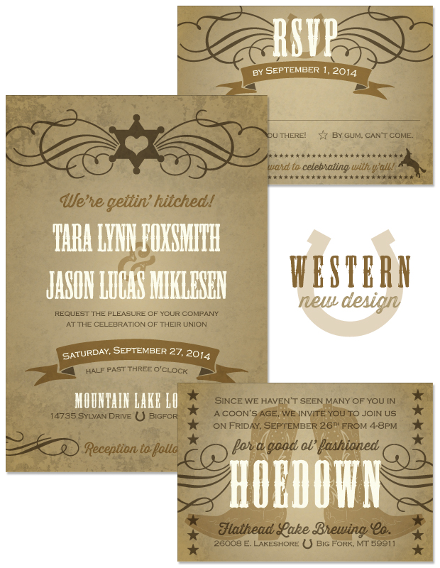 Western Wedding Invitation, Reply and Accessory