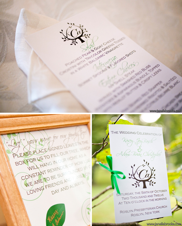 Kasey made her own wedding day stationery with the help of a graphic designer friend.