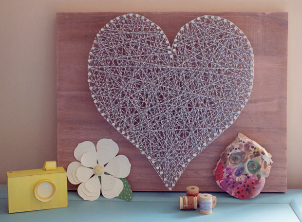 bakers twine string art heart