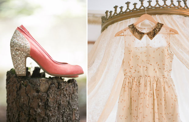 glittery wedding shoes and lovely reception dress