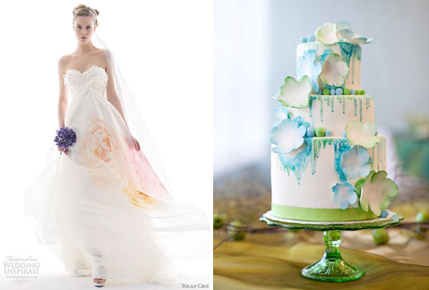 watercolor wedding trend - dress and cake