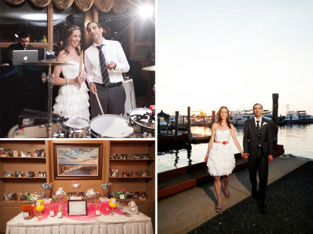 Bridge and groom on the drums, the candy bar and a portrait on the dock. Photos by Jayd Gardina.