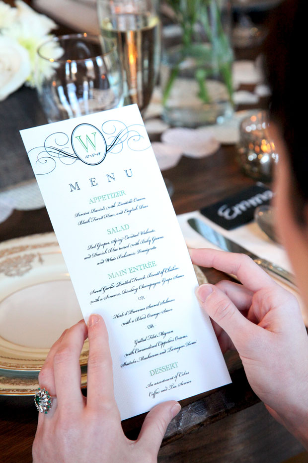 real wedding stationery: elegance menu