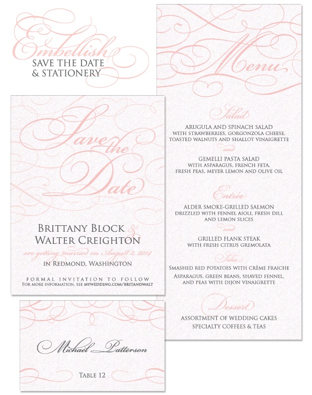 Embellish Save the Date and Wedding Day Stationery