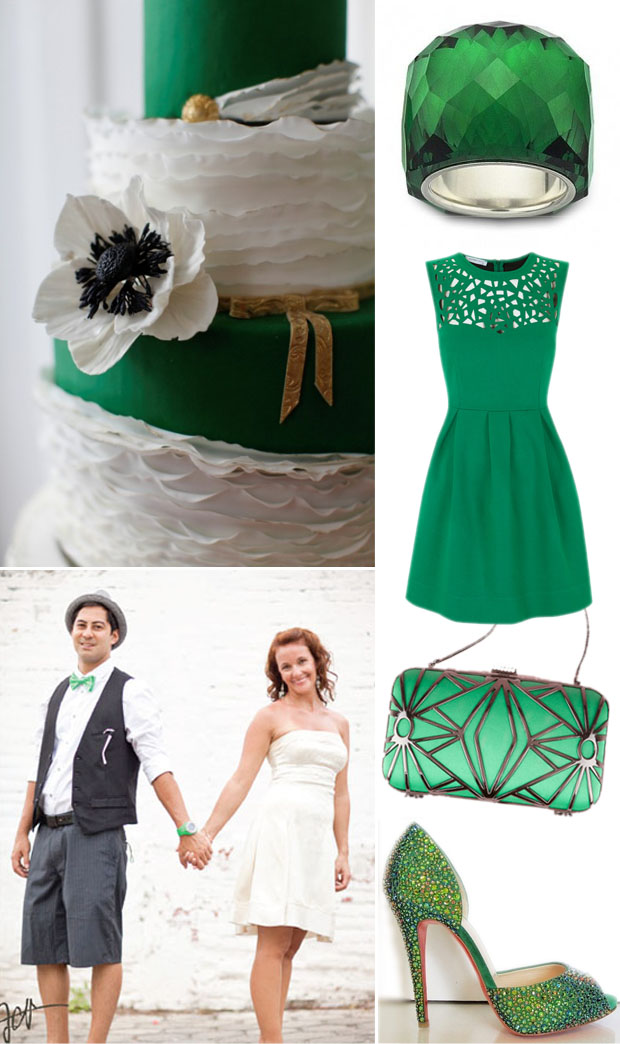 emerald green, pantone 2013 color of the year, wedding inspiration