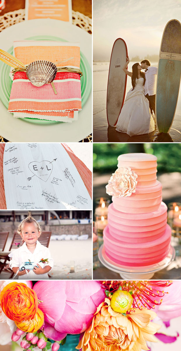 surfboard and beach wedding ideas and inspiration