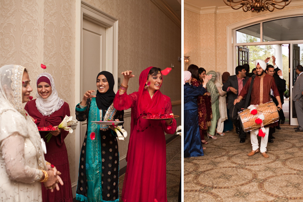 The groom's side and bride's side make their grand entrances into the ballroom