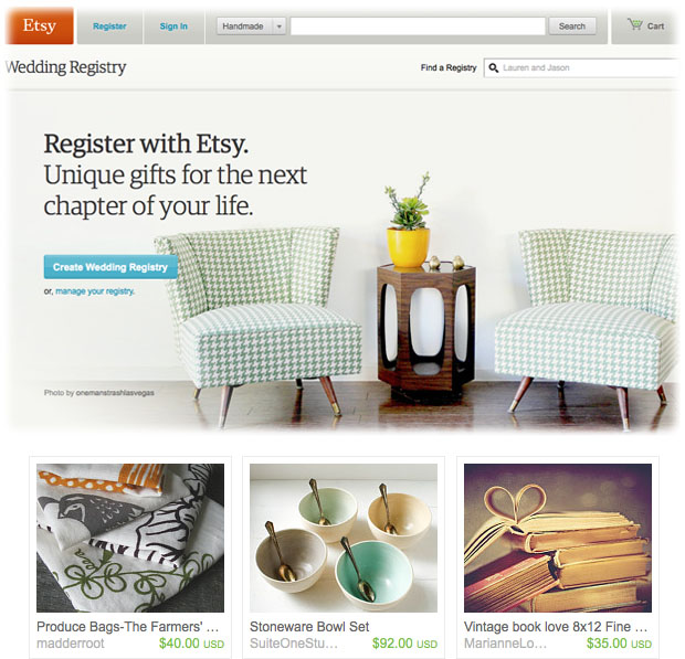 etsy wedding registry - handmade home goods and art