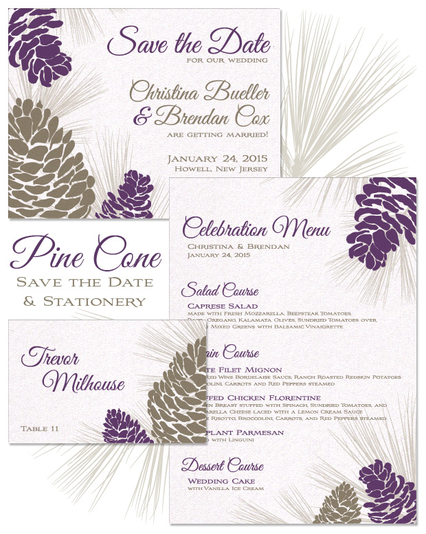 Pine Cone Save the Date, Menu and Place Card