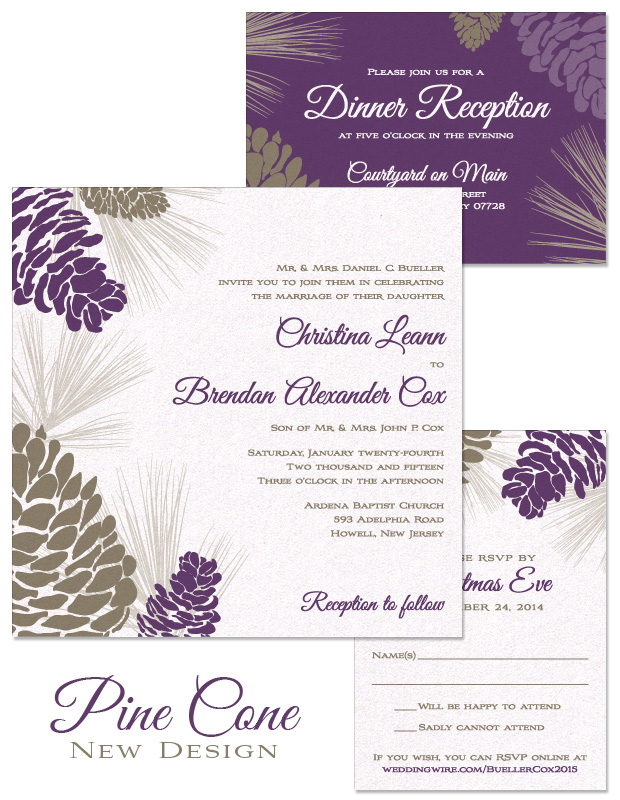 Pine Cone Wedding Invitation, RSVP and Accessory