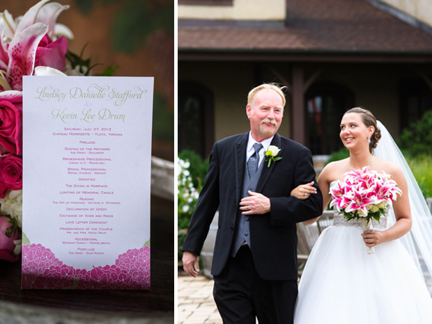 Father of the bride escorts Lindsey; Hydrangea Program from The Green Kangaroo