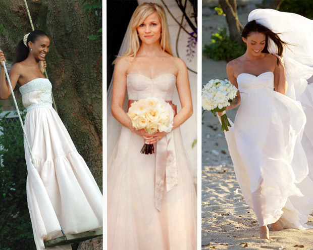 Elegant White & Blush Celebrity Wedding Dresses