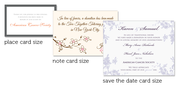 Different sizes of favor cards