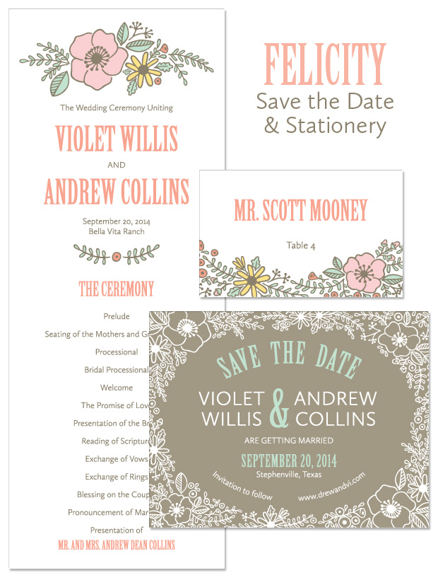 Felicity Save the Date and Stationery