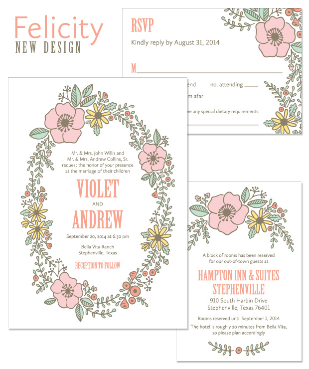 Felicity Floral Wreath Wedding Invitation