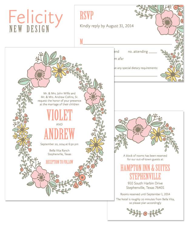 Felicity Floral Wreath Wedding Invitation