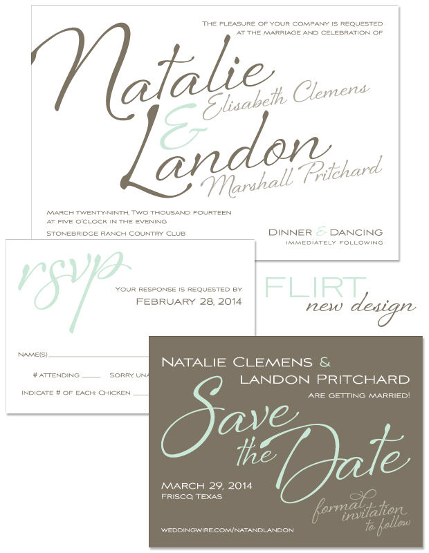 Flirt Wedding Invitation, Reply and Save the Date