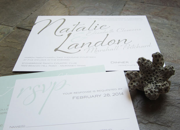 flirty wedding invitation in mint and umber